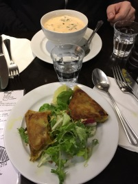 Samosas and coco curry soup