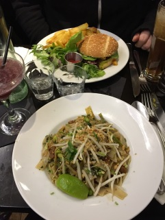Pad thai and burger